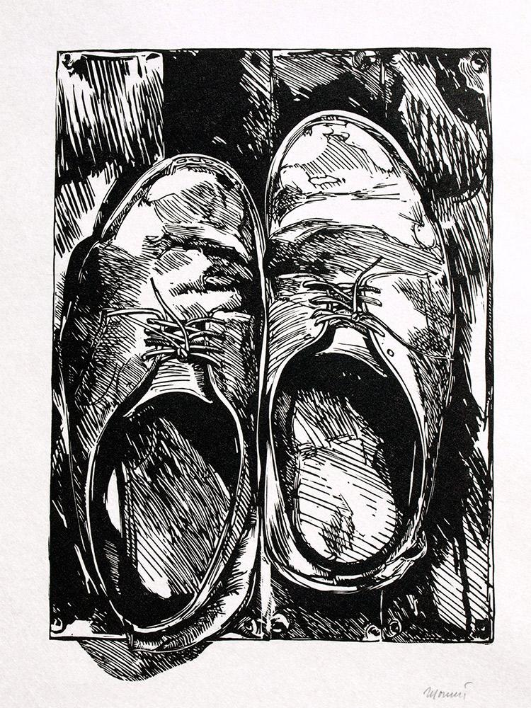 Linogravure, 2 chaussures sur miroirs, 1995 (29,2 x 20,2).